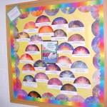 Jonelle Hamou and the students at Frederick Douglass Elem in Winchester, VA used coffee filters and ink to do science and sunsets and sunrises.