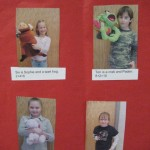 Students hold a stuffed animal and count their feet plus the animal&#039;s feet to illustrate the concept