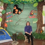rain forest/jungle art sculpture/display in Connersville and author